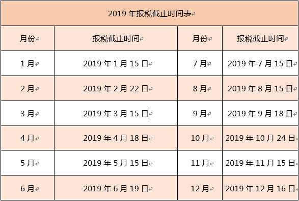 「2019年个人所得税计算」2019年报税截止时间表
